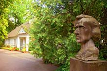 Frederic Chopin Sandstone Bust By Stanislaw Sikora At Chopin Museum In Zelazowa Wola, Mazovia, Poland.