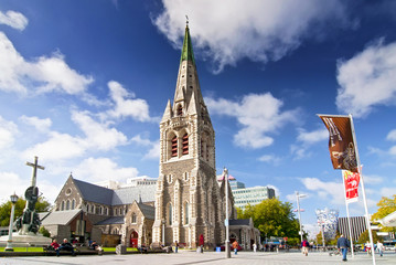 Christ Church Cathedral, a deconsecrated Anglican cathedral in the city of Christchurch, South Island, New Zealand.