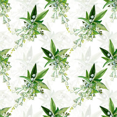 Fototapeta Do sypialni Seamless Pattern of sprigs lily of the valley.