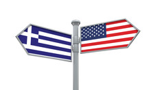 Greece And America Flag Moving...
