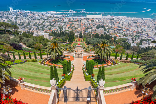 Fototapeta View over the Bahai Gardens and port in the background in Haifa, Israel, Middle East