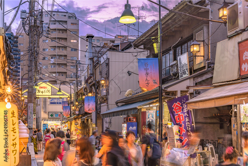 Poster Lavender Retro old-fashionned shopping street Yanaka Ginza famous as a spectacular spot for sunset and also named the Evening Village. Yanaka's mascot is a cat named Sen.