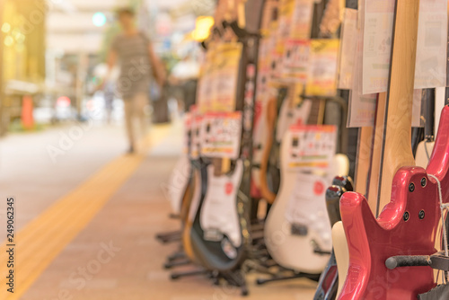 Poster Muziekwinkel Ochanomizu district in Tokyo close to Meiji University whose main street known as Guitar Street, which is lined on both sides with guitar shops, violin shops or saxophone shops.