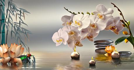 FototapetaWandbild mit Steinen und Bambus im Wasser und schwimmenden Kerzen