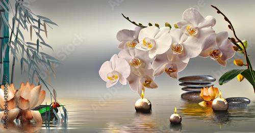 In de dag Orchidee Wandbild mit Steinen und Bambus im Wasser und schwimmenden Kerzen
