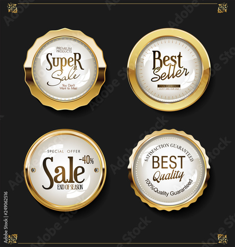 Fototapety, obrazy: Luxury retro badges gold and silver vector collection