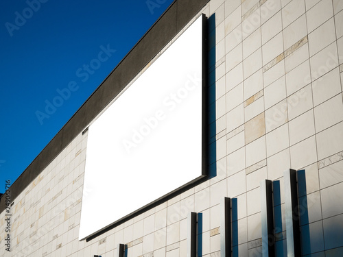 Shopping centre mall, airport, train station office building facade, Blank white paper board at modern wall texture background, Mock up ads template, Business presentation content concept.
