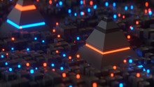 Pyramids And Nformation Blocks In Cyberspace 3D Render