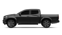 Black Pickup Truck Isolated