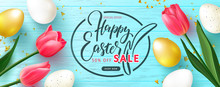 Happy Easter Sale Banner.Beautiful Background With Golden And White Eggs,Tulips And Serpentine. Vector Illustration For Website , Posters,ads, Coupons, Promotional Material