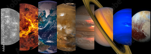 Fotografie, Obraz  Collage slicing planets of the solar system on a black background