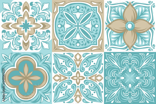 Portuguese azulejo ceramic tile pattern. Canvas Print