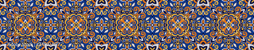 Fotografie, Tablou Azulejos Tile Vector Seamless Pattern