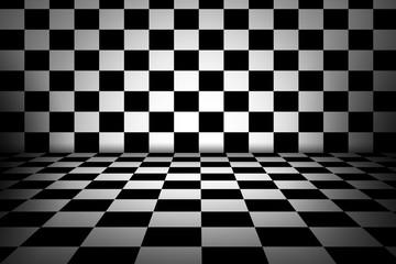 Black and white checker interior room.