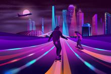 Modern Metropolis Nightlife Neon Color Cartoon Vector. Young Men, Teenager Skateboarders Riding Skateboards On City Road Or Highway, Futuristic Skyscrapers Buildings, Plane In Night Sky Illustration