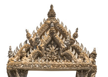 Ancient Stucco Of Master Craftsmanship On The Gable At Wat Mahathat Temple In Phetchaburi, Thailand On White Background With Clipping Patchs