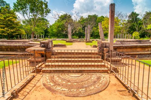 Fotografia, Obraz  Sacred City of Anuradhapura, moonstone and stairs at the Abhayagiri Monastery, Sri Lanka, Asia
