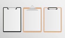 Set Of Clipboard With White Sheet On Gray Background