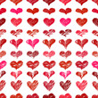 Seamless pattern with red hand drawn hearts
