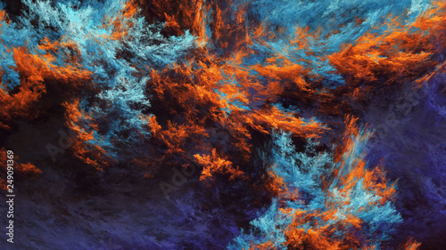 Abstract blue and orange fantastic clouds. Colorful fractal background. Digital art. 3d rendering.