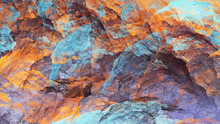 Abstract Blue And Orange Marble Texture. Colorful Fractal Background. Digital Art. 3d Rendering.