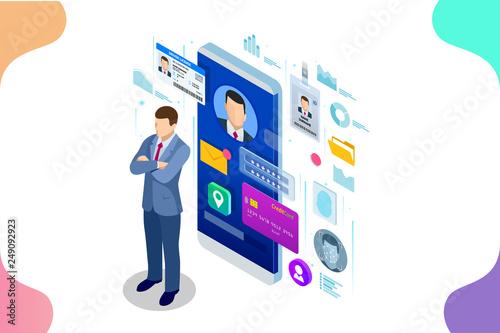 Obraz na płótnie Isometric Personal Data Information App, Identity Private Concept