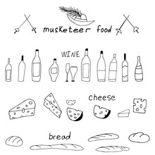 Vector Illustration Of Musketeer Meal, Hand Drawn Sketch Of Food In France. Wine, Meat And Cheese. Musketeer Swords And Hats. Lunch From The Novel Three Musketeers.