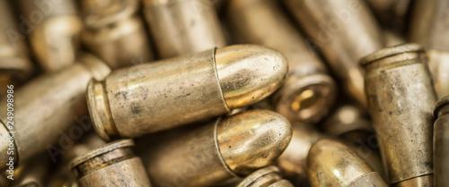 Fotografia, Obraz Top close-up macro view of large group of gun bullets