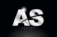 Silver Letter As A S Metal Combination Alphabet With Grey Color On Black Background Logo
