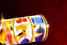 Casino Slot Machine Reel With Golden Money Coins