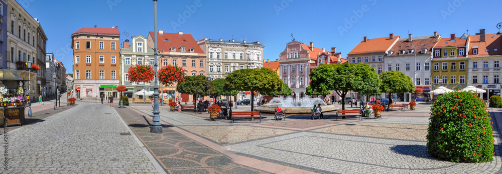 Center Walbrzych, City fountain, baroque tenements, Lower Silesia, Poland