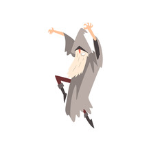 Elderly Male Sorcerer Sorcerer Conjuring, Bearded Wizard Character Wearing Mantle And Pointed Hat Vector Illustration
