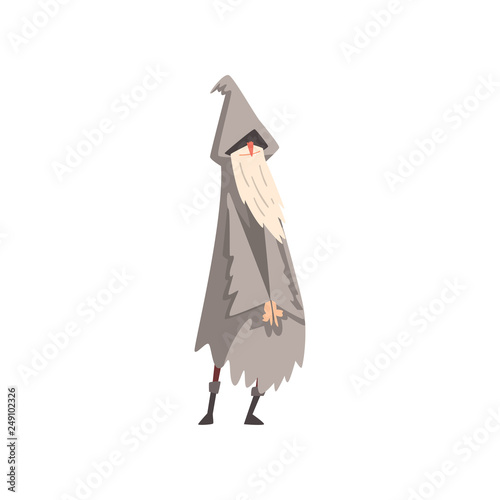 Elderly Male Sorcerer, Gray Bearded Wizard Character Wearing Mantle and Pointed Canvas Print
