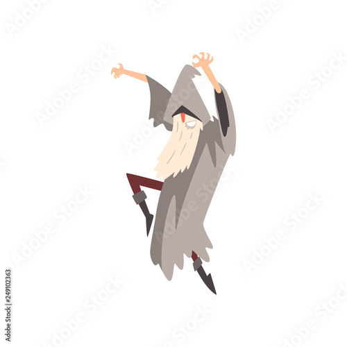 Elderly Male Sorcerer Sorcerer Conjuring, Bearded Wizard Character Wearing Mantl Canvas Print