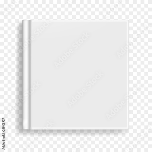 Fotografering  Square vector blank realistic book, closed gray organizer or notebook cover template