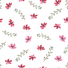 Tender Seamless Pattern With Hand Drawn Watercolor Tiny Red Flowers And Leaves On Branches On White Background. Bright Summer Floral Texture For Textile, Wrapping Paper, Cover, Surface, Wallpaper