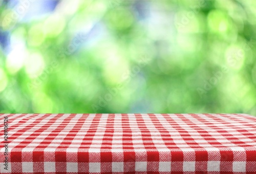 Keuken foto achterwand Picknick Checkered napkin on white background