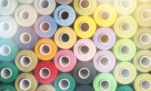 Spools Of Colorful Thread, Different Colors Background