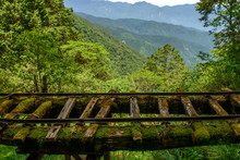 Close Up Abandoned Railway Tracks Landscape In  Taiwan