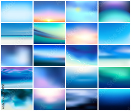 Fotografia, Obraz BIG set of 20 horizontal wide blurred nature dark blue backgrounds