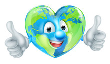 A Cute Cartoon Earth World Mascot Character In The Shape Of A Heart Giving A Thumbs Up