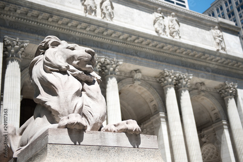 Iconic lion on the New York public Library in NYC, Manhattan Wallpaper Mural