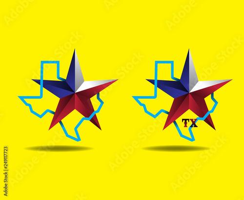 Texas map with Star logo concept, Vector EPS 10. Canvas Print