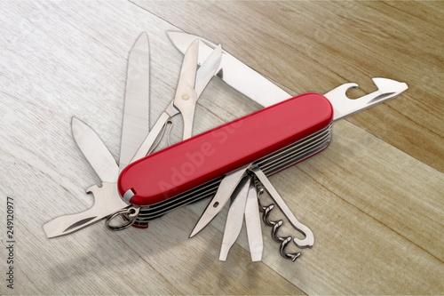 Valokuva  Multipurpose Knife object  on backgrouund