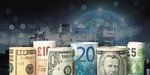 Dollars And Euro Banknotes On Background