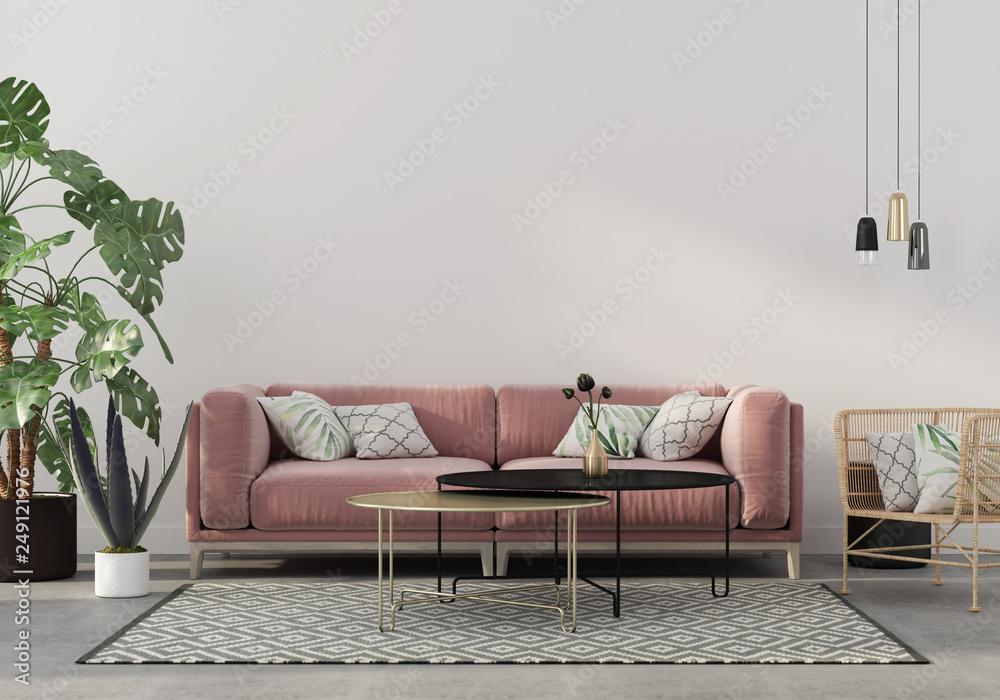 Fototapeta living room in pink with velvet sofa