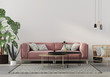 canvas print picture living room in pink with velvet sofa