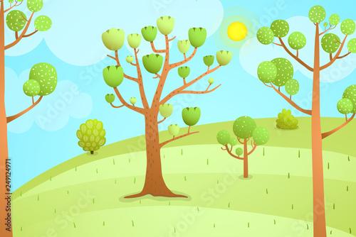 Foto op Canvas Lichtblauw Cartoon Nature Landscape Empty Background