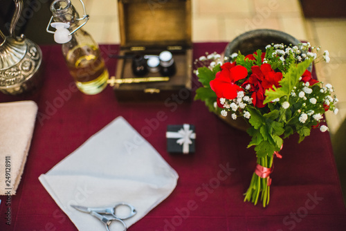 Set for baptizing in a church Canvas Print