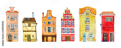 In de dag Brugge Set of yellow and red old stone europe houses in a row. Hand drawn cartoon watercolor illustration